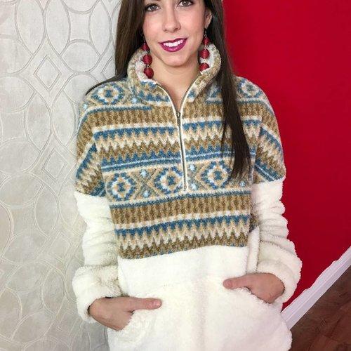 Cream/Blue Fuzzy Aztec Pullover
