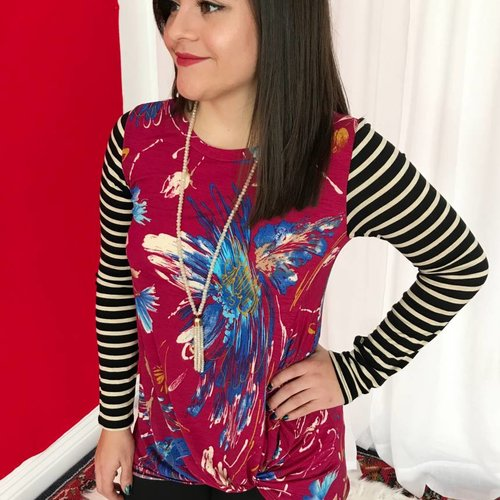 Fuchsia Floral Knot Top with Striped Sleeve