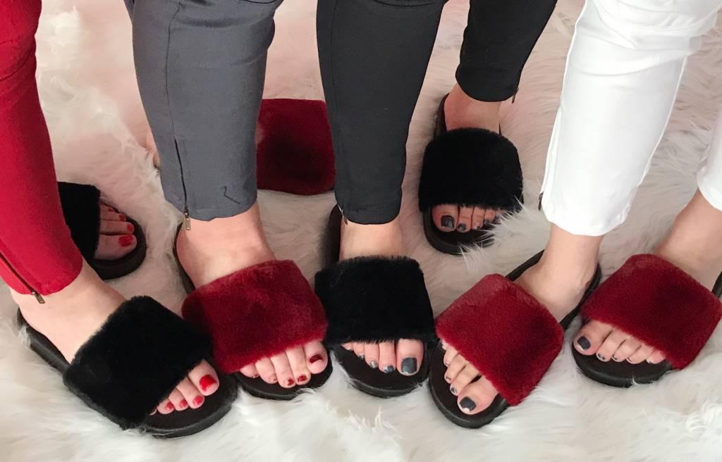 Burgundy Fur Flat Slip on Sandal