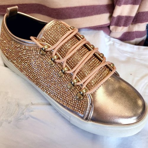 Rosegold Bedazzled Chic Sneakers