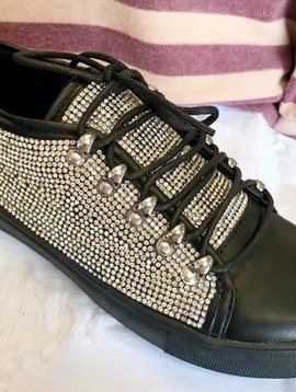 Black Bedazzled Chic Sneakers- SALE ITEM