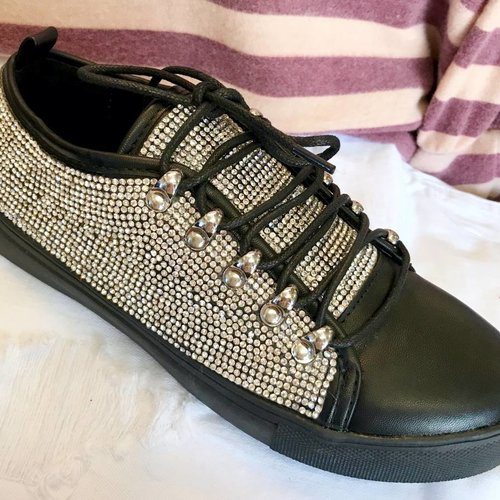 Black Bedazzled Chic Sneakers