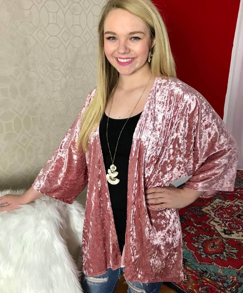 Pink Velvet Open Front Kimono