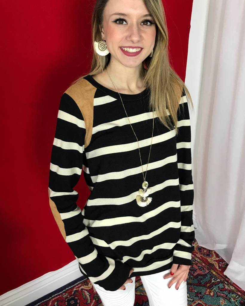 Black Striped Top with Suede Elbow Patch/Detail