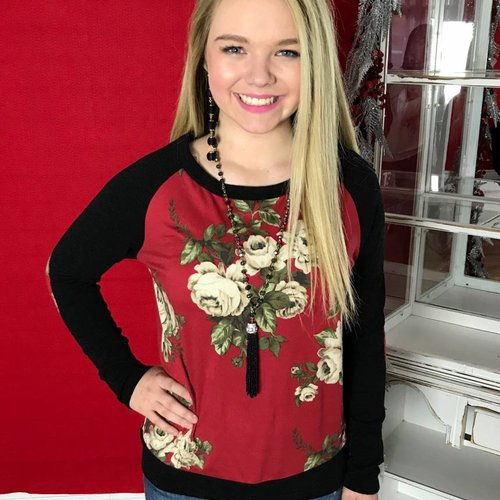 Red Floral Printed Top with Black Sleeve Contrast