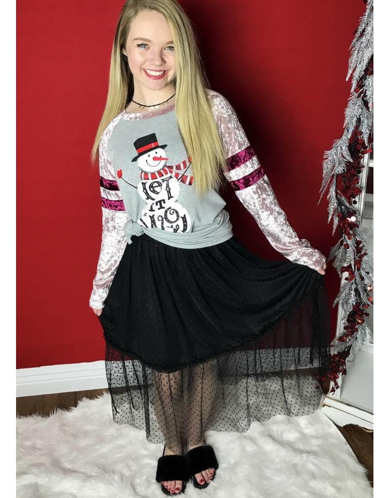 Black Dot Mesh Knee Length Skirt