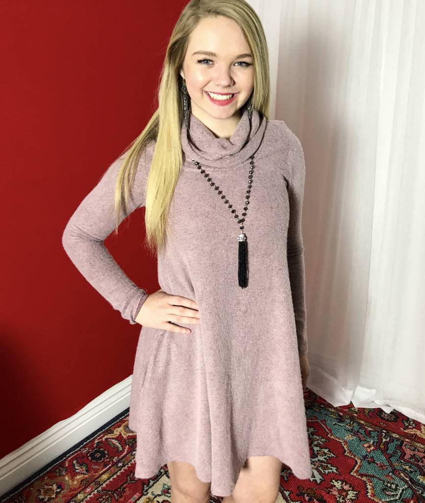 Mauve Cowl Neck Tunic with Pockets