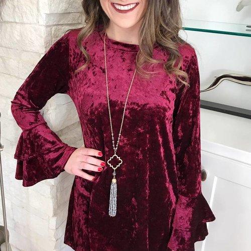 Burgundy Crushed Velvet Dress with Bell Sleeve
