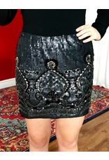 Black Sequin Skirt with Silver Bead Details