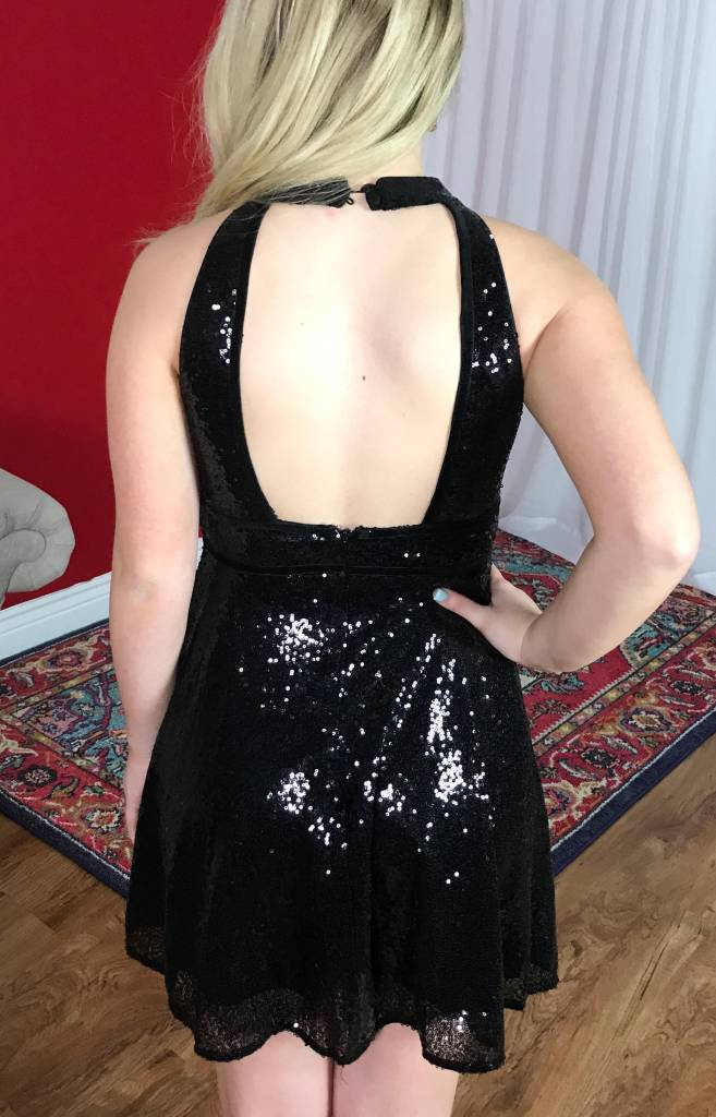 Black Sequin Front and Back Cutout Dress