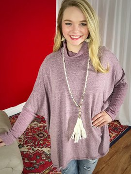 Faded Plum Built-In Scarf Tunic