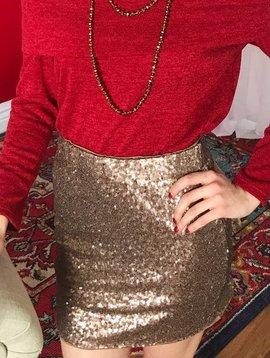 Gold Sequin Mini Skirt