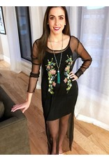 Black Sheer Embroidered Layering Tunic