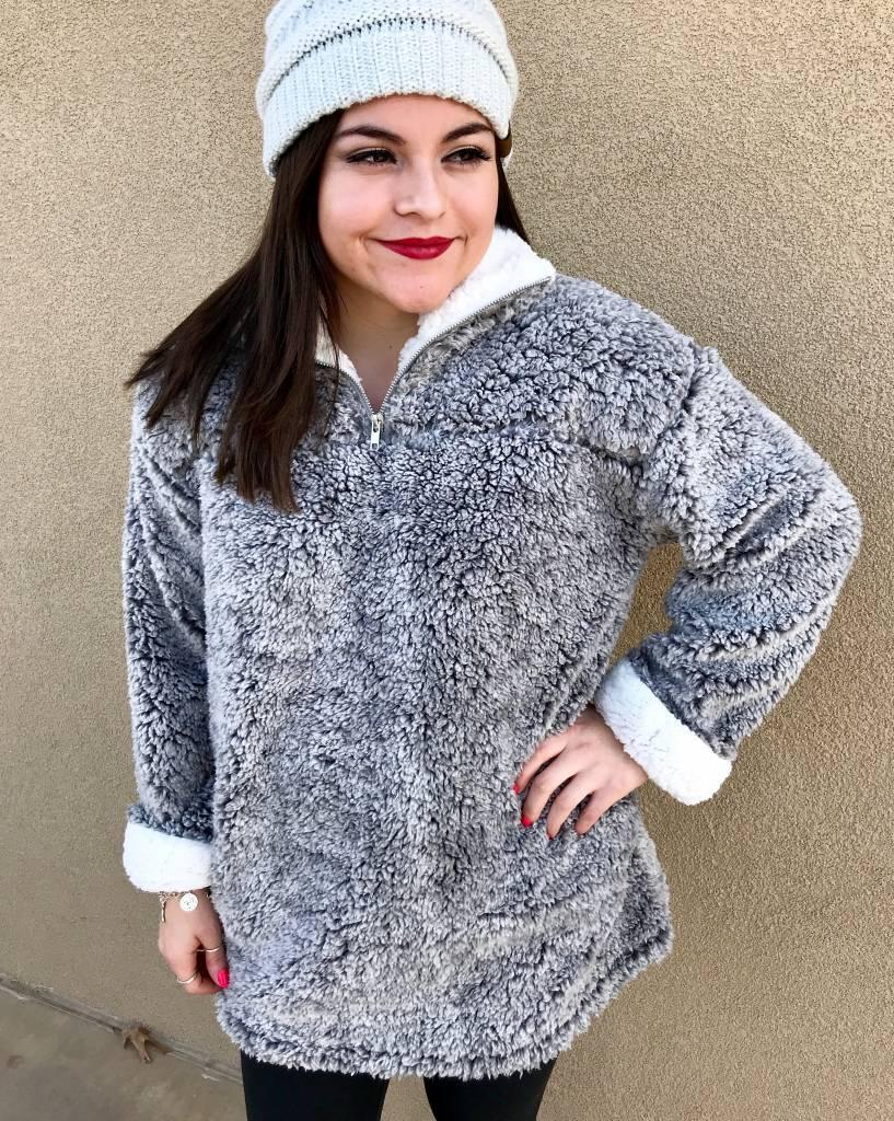 Grey Faux Fur Pullover Jacket