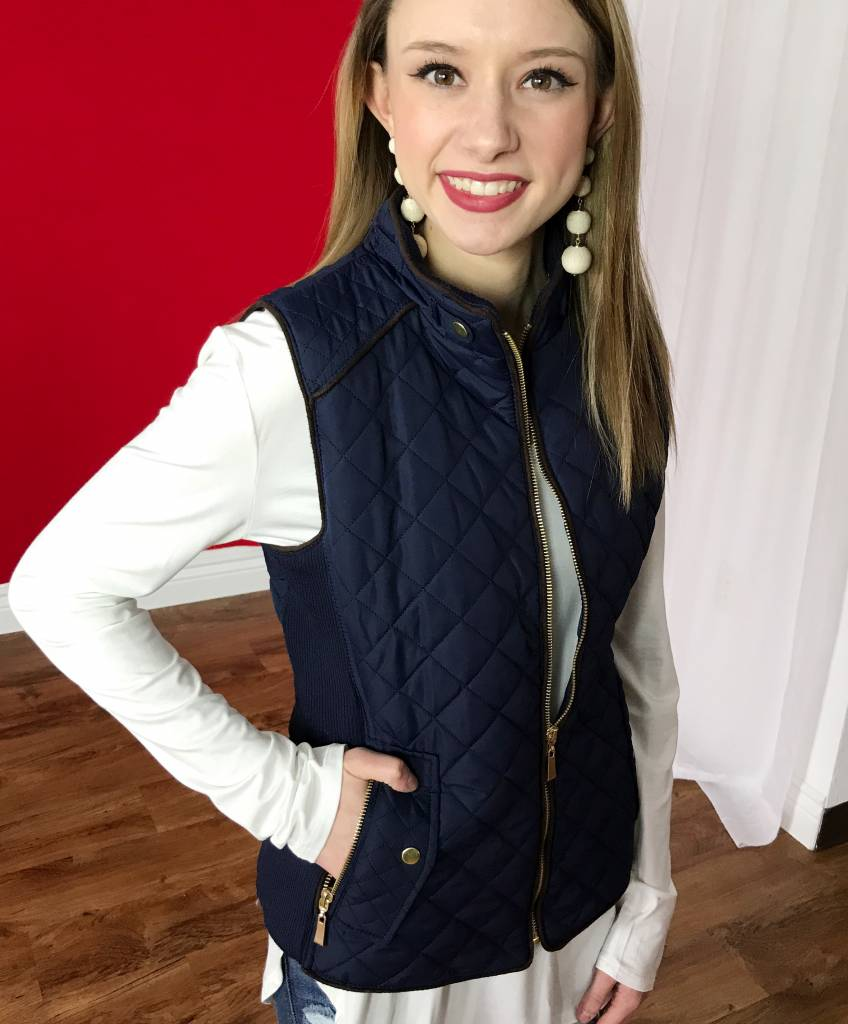 Navy Quilted Padded Vest