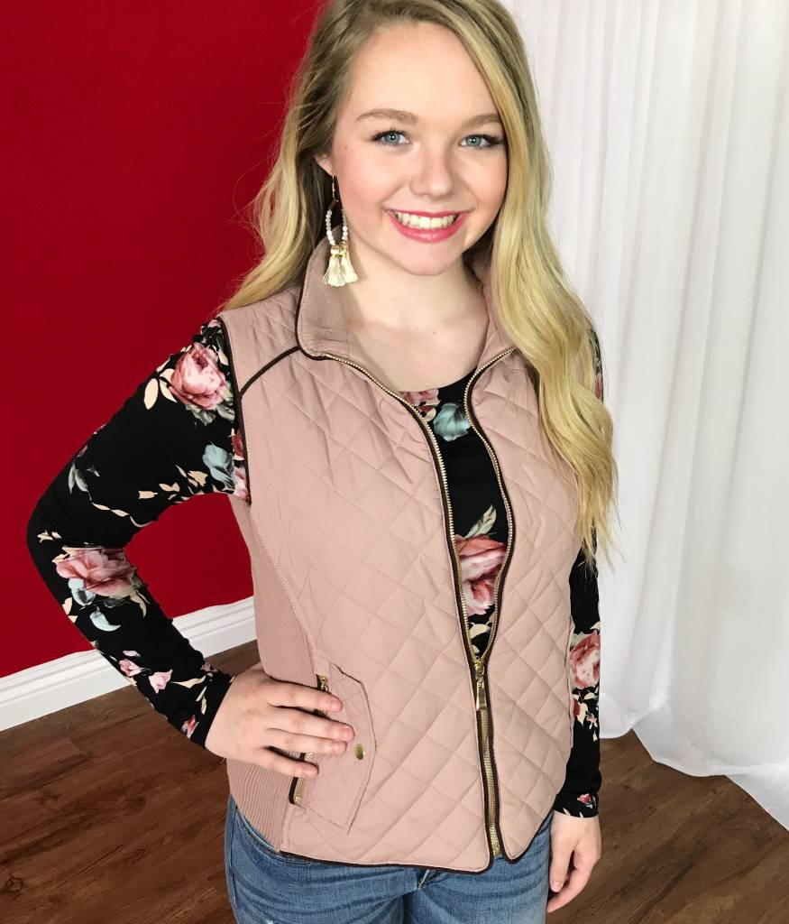 Blush Quilted Padded Vest