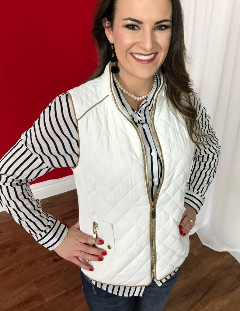 White Quilted Padded Vest