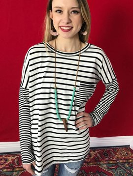 Black Contrast Striped Top with Pocket