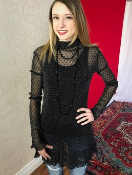Black Glitter Polka Dotted Sheer Turtle Neck Top