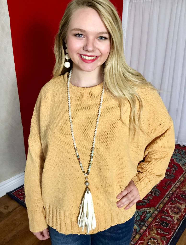 Honey Chenille Sweater with Open Back