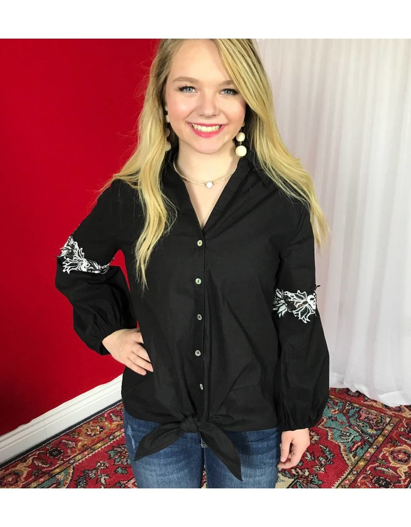 Black Sleeve Embroidered Button Up Tie Top- SALE ITEM