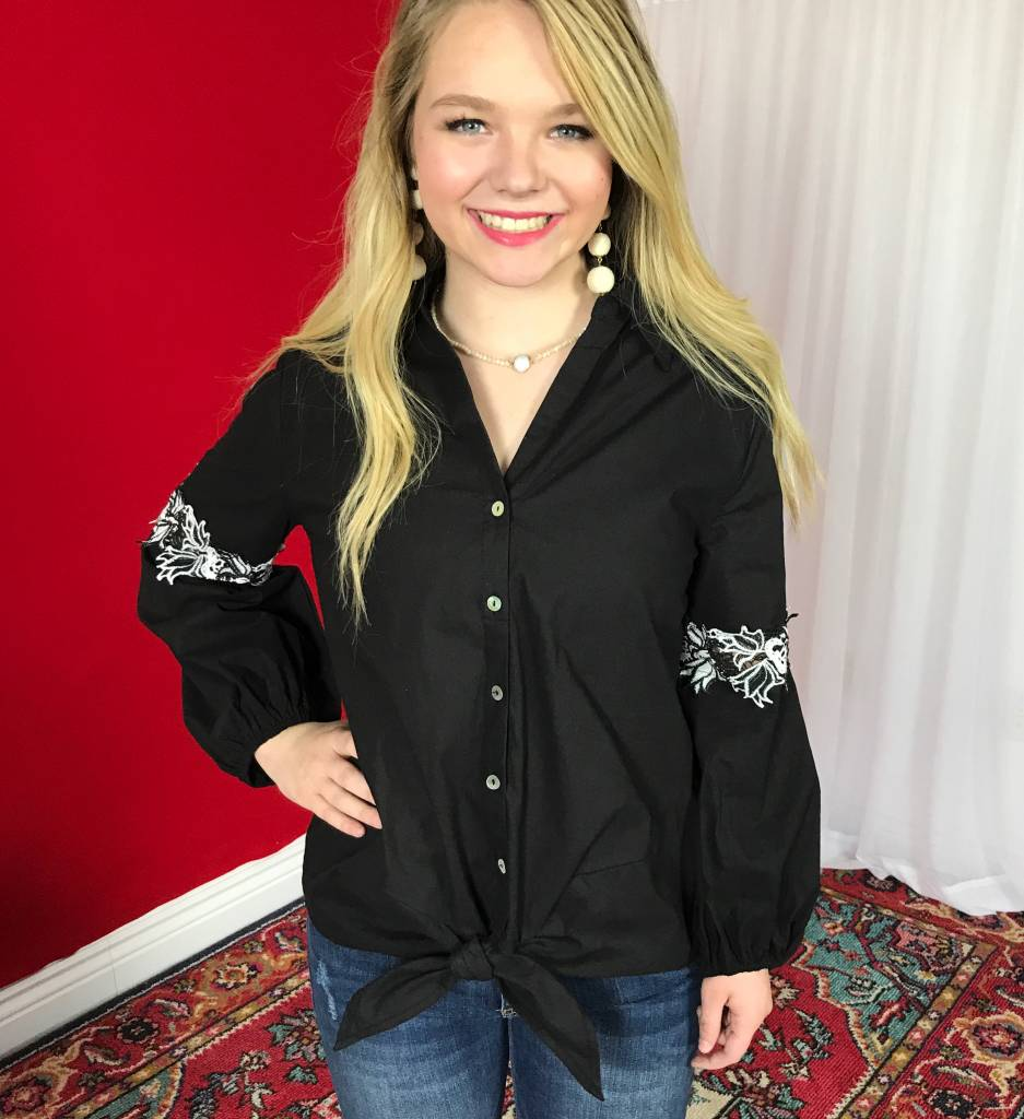 Black Sleeve Embroidered Button Up Tie Top