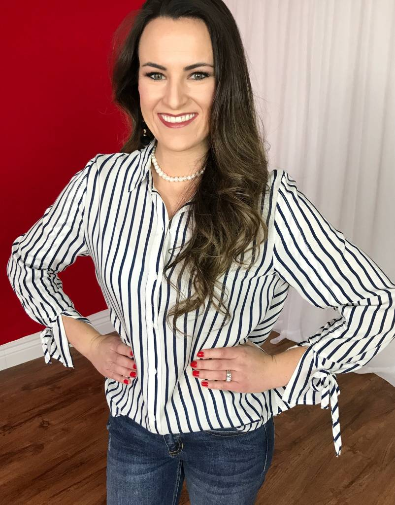 White / Navy Striped Button-Up Collar Top