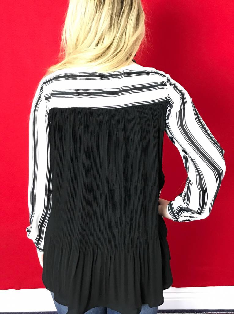 Black & White Striped Thin Top with Black Sheer Back