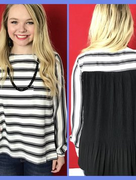 Black & White Striped Thin Top with Black Sheer Back-SALE ITEM