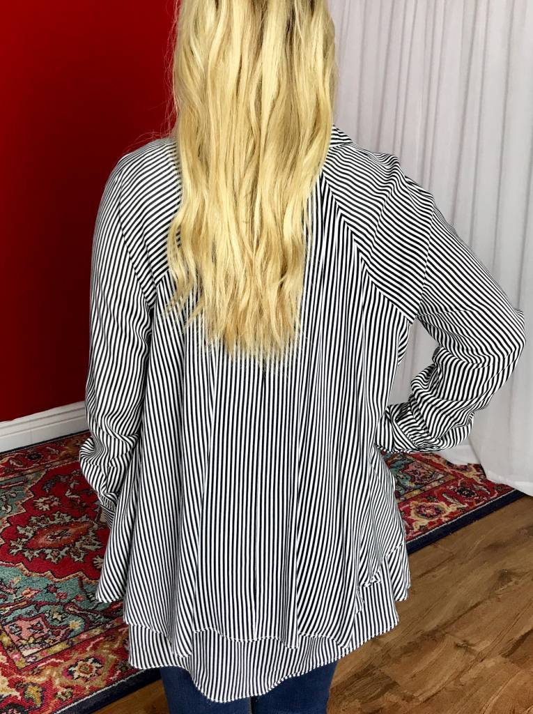 Black / White Striped Button Up Ruffle Top