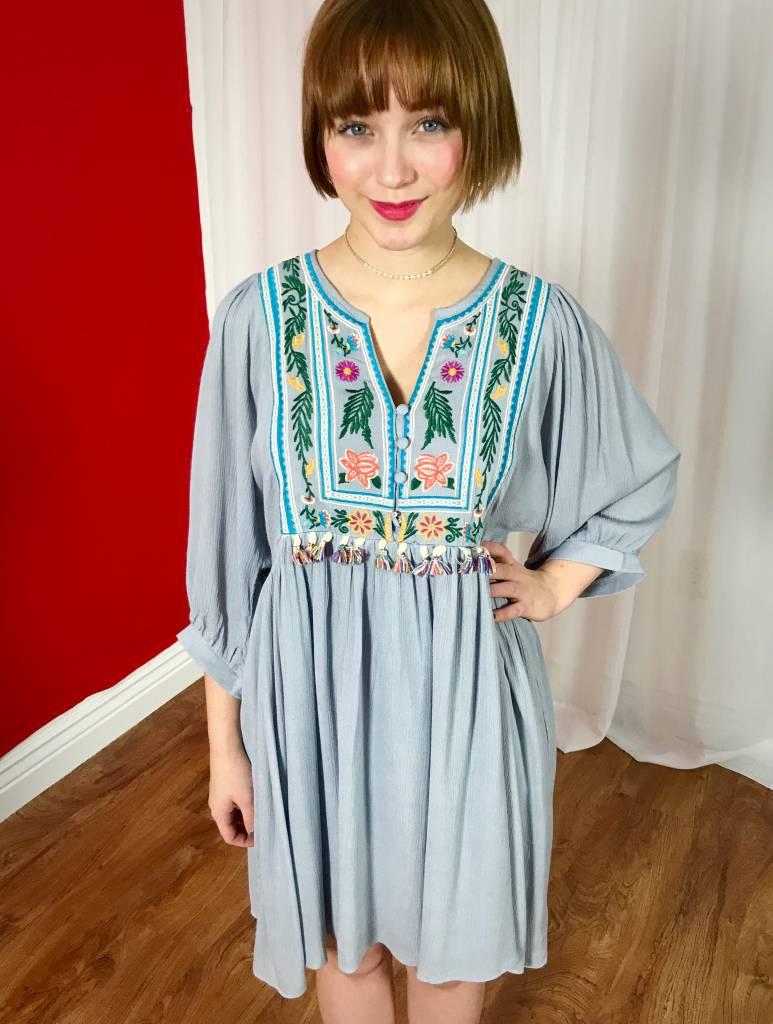 Grey Embroidered Button V-Neck Dress- SALE ITEM