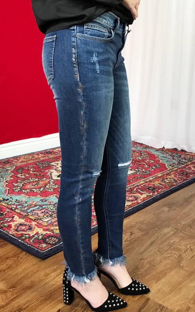 Medium Dark Gold-Edged Ripped Skinny Jeans