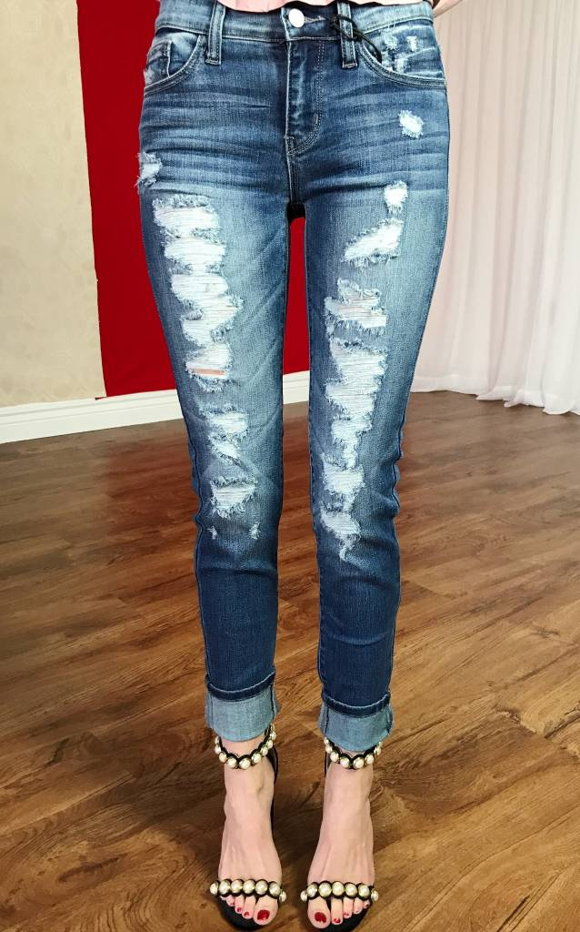 Medium Dark Destroyed Skinny Jean