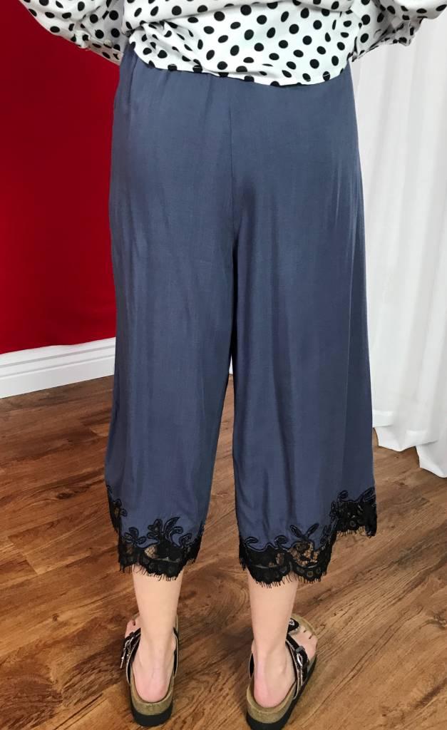 Grey Capri Pants with Lace Edges