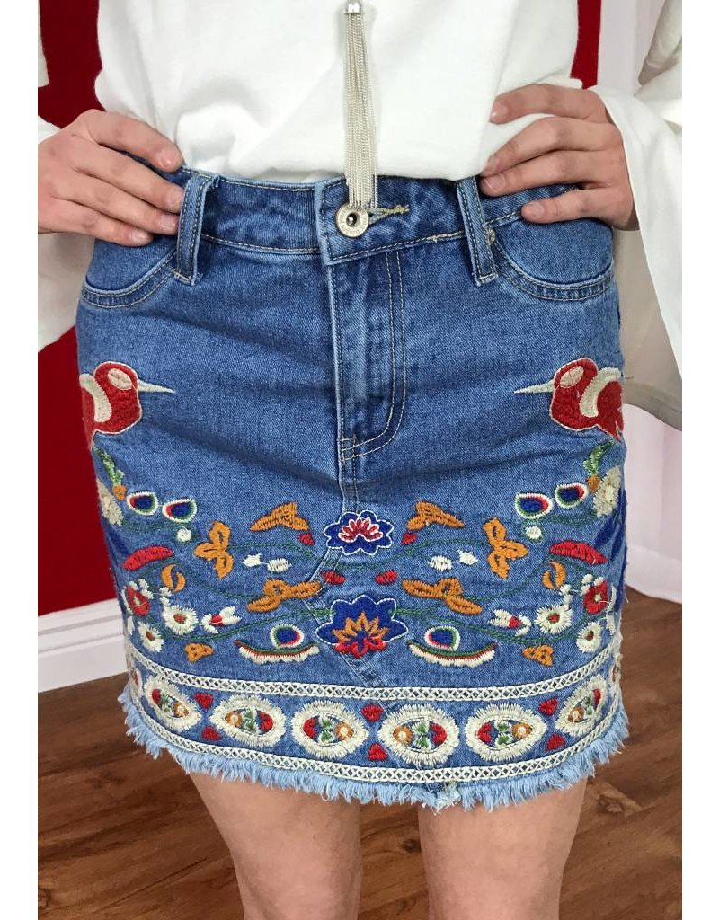 Denim Floral Embroidered Mini Skirt with Pockets- SALE ITEM