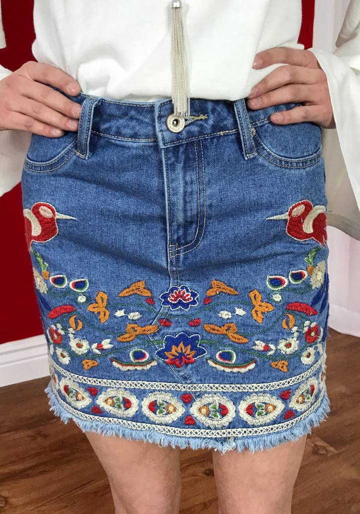Denim Floral Embroidered Mini Skirt with Pockets