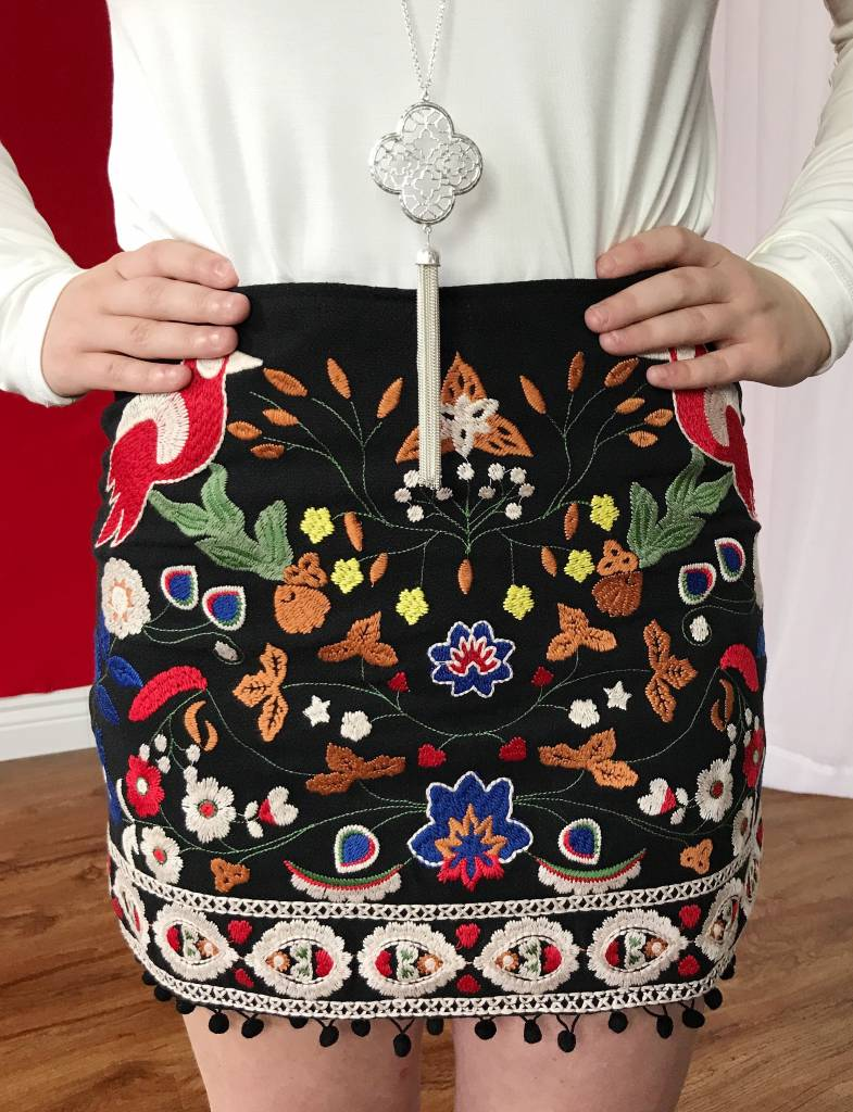 Black High Waist Floral Embroidered Skirt with Pom Trim