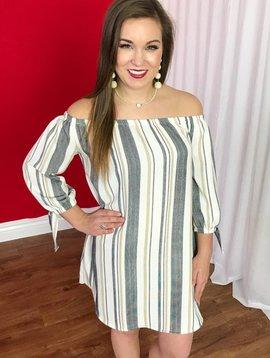 Beige/Grey Striped Off the Shoulder Dress