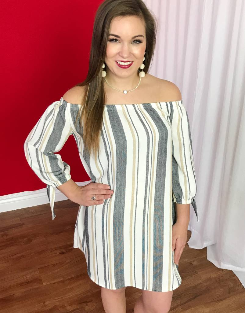 Beige/Grey Striped Off the Shoulder Dress