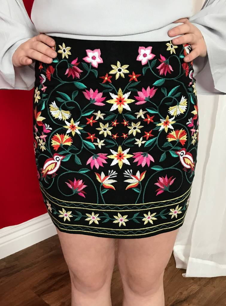 Black Floral Embroidered Short Skirt