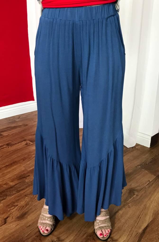 Dusk Blue Ruffled Bottom Flair Pants