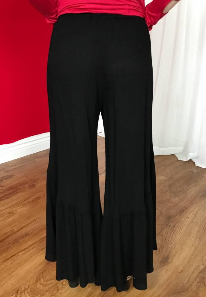Black Ruffled Bottom Flare Pant