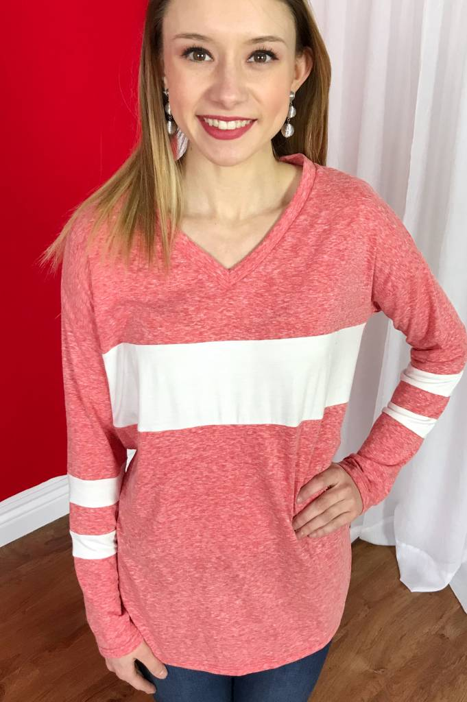 Coral/White Knit Triblend Top with Color Block Detail