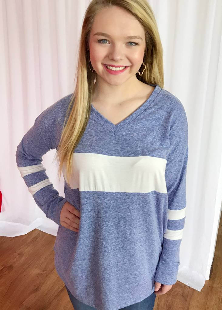 Blue/White Knit Triblend Top with Color Block Detail