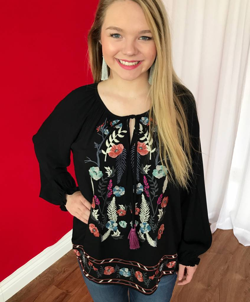 Black Floral Embroidered Keyhole Tie Top