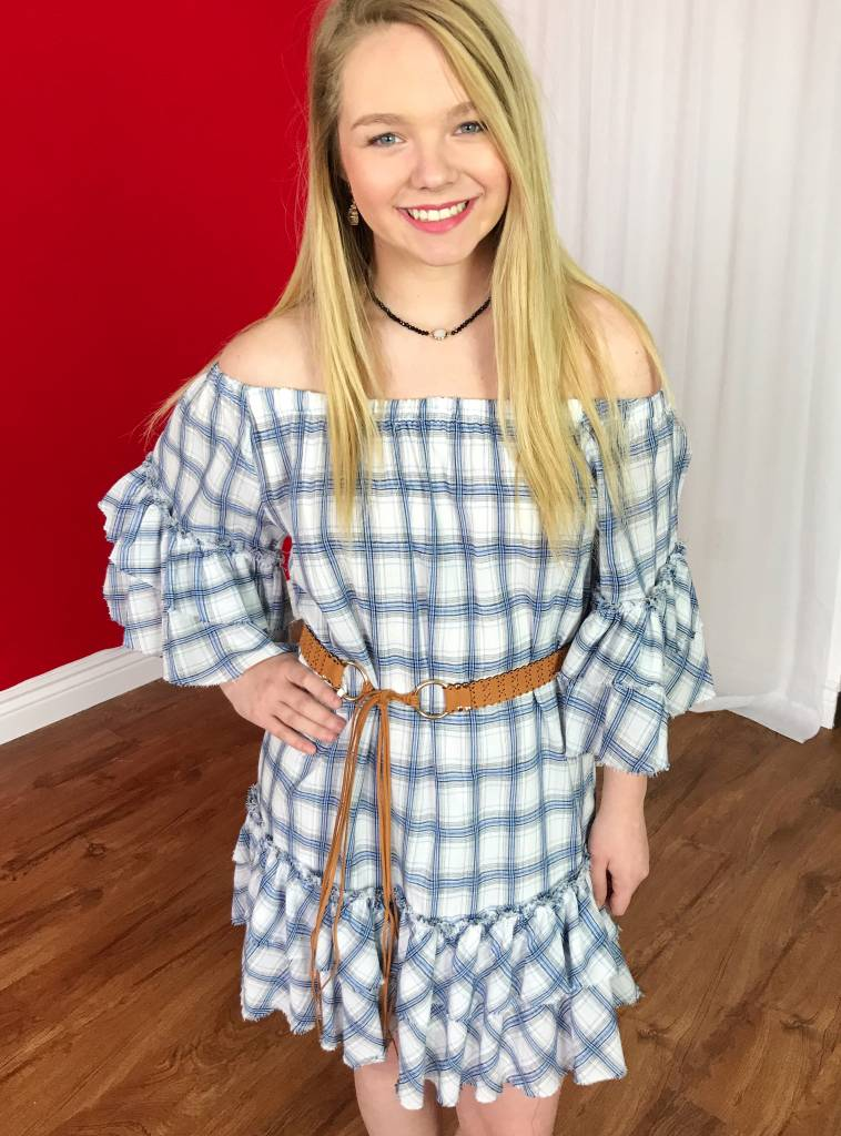 White/Blue Plaid Ruffled Off the Shoulder Dress