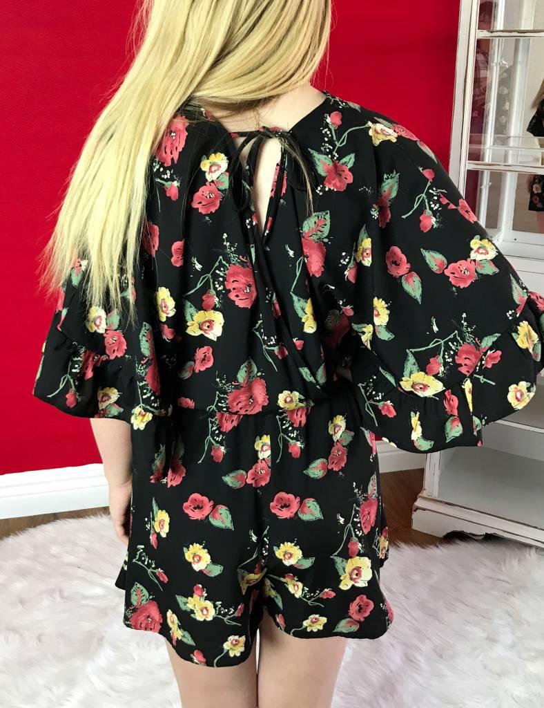 Black Floral Romper with Open Back