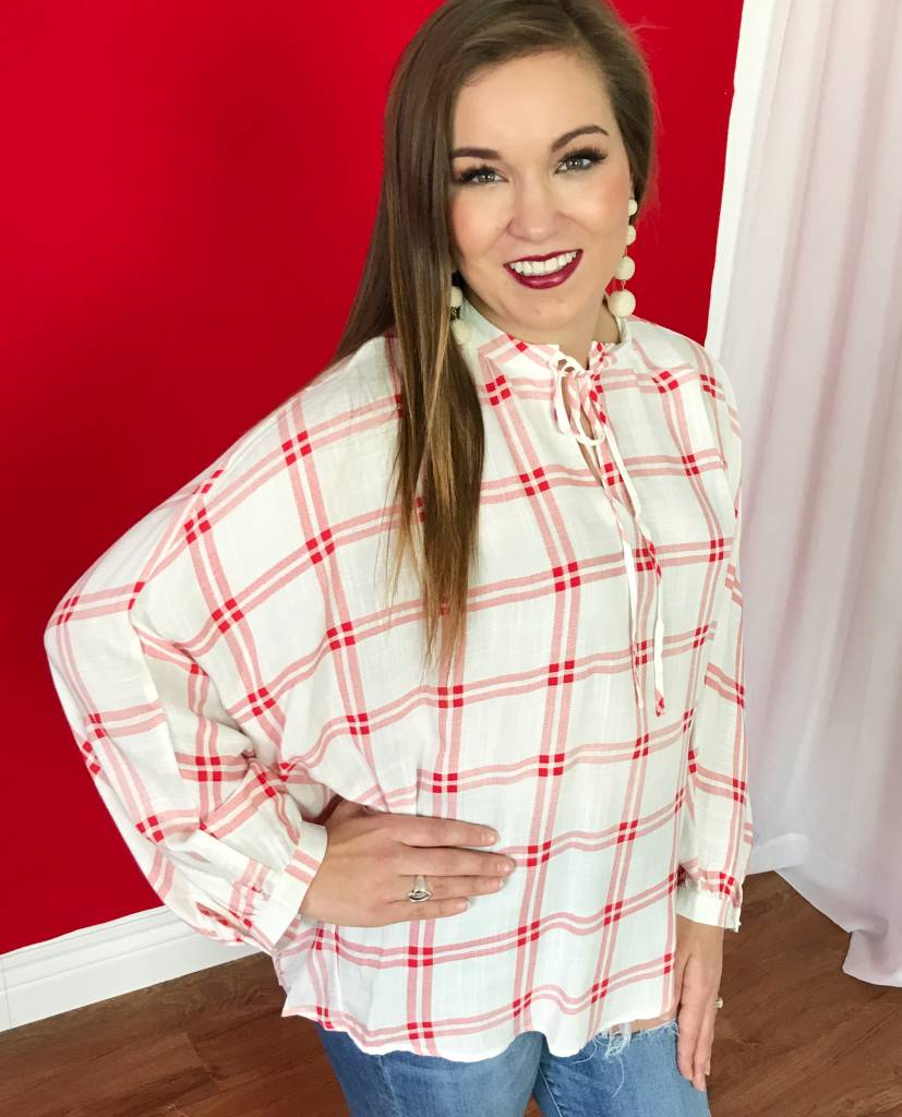 Red Plaid Keyhole Dolman Top- SALE ITEM