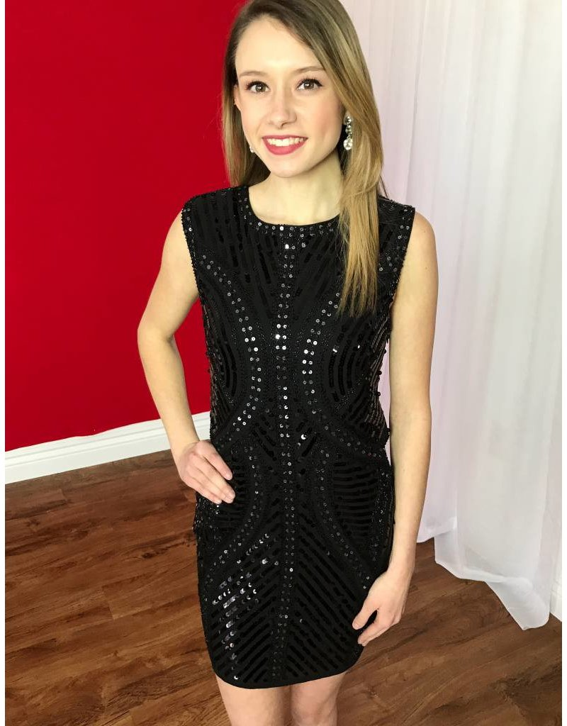 Black Sleeveless Sequin Fitted Dress