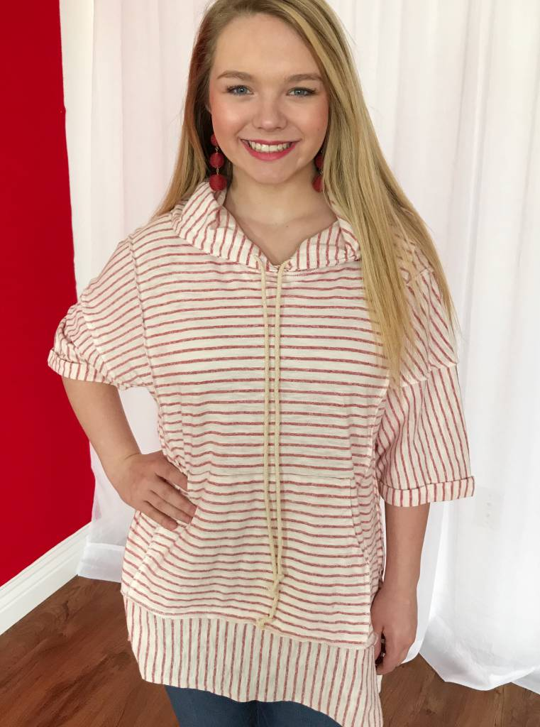 Faded Red Striped Hi-Low Hoodie Top with Pouch